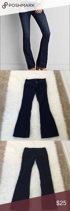 American Eagle Pants Like new navy blue flare corduroys. Super stretchy and comfortable. Made with 98% cotton and 2% spandex. Size 8 long. Inseam is 34 inches. American Eagle Outfitters Pants