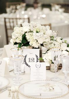White Centerpieces: White-on-white is a timeless and romantic wedding-color scheme. And while it's easy to incorporate the neutral hue into your big-day fashion choices (white bridesmaid dresses are still a major trend thanks to Pippa Middleton), using white flowers in wedding centerpieces can be more difficult. White blooms can and do make a major impact. Include different types of greenery for contrast, consider placing the arrangements in silver or gold vases, & sprinkle tables with…