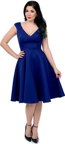 1950s Style Navy Blue Cap Sleeve Surplice Scuba Swing Dress