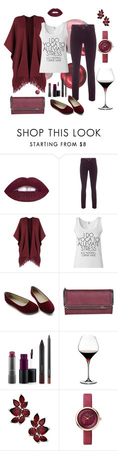 """""""Wine Time"""" by liahayes ❤ liked on Polyvore featuring L.A. Girl, AG Adriano Goldschmied, WearAll, STELLA McCARTNEY, MAC Cosmetics and Riedel"""