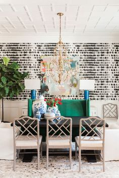 Get inspired by Eclectic Dining Room Design photo by Kendall Simmons Interiors. Wayfair lets you find the designer products in the photo and get ideas from thousands of other Eclectic Dining Room Design photos. Dining Room Design, Dining Room Furniture, Dining Chairs, Dining Table, Dining Area, Dining Sets, Diy Table, Room Chairs, Dining Room Wallpaper