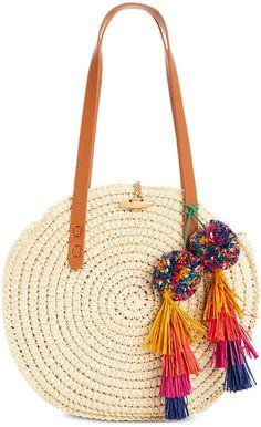 INC International Concepts I. Melani Circle Straw Bag, Created for Macy's INC International Concepts I. Melani Circle Straw Bag, Created for Macy's Macys Purses, Boho Bags, Jute Bags, Basket Bag, Purse Styles, Crochet Purses, Summer Bags, Handmade Bags, Handbag Accessories