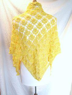 Crochet Shawl Pattern - Lace Shawl Pattern - Yellow Shawl. $4.00, via Etsy.