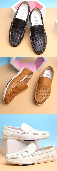Men Hollow Out Breathable Soft Doug Shoes Casual Driving Leather Loafers