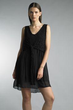 Tempo Paris Black Lace Wrap Empire Dress