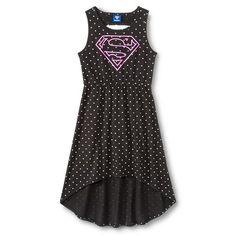 Super Girl Girls' Polka Dot Hi-Lo Dress - Black