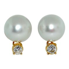 Large South Sea Button Pearl Gold Diamond Earrings