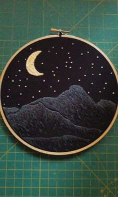 Hand Embroidered 7 inch Nighttime Mountain Landscape Hoop Art by starlingstitchery on Etsy https://www.etsy.com/listing/286097001/hand-embroidered-7-inch-nighttime