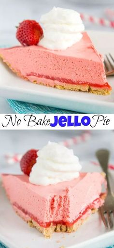 No-Bake Strawberry Jello Pie - Just a couple of ingredients are needed to make this super easy jello pie!