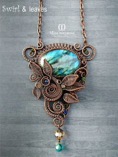 Leaf shaped jewelry gift idea for birthday or anniversary Golden labradorite and copper wire wrapped pendant for her or him