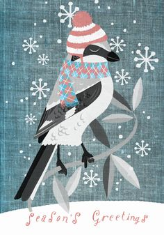 christmas night bird, greeting card by marco marella, http://www.workbook.com/view/illustration/marco_marella