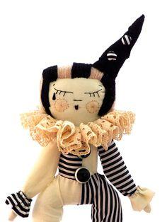 Circus girl, cloth doll, Piro clown via Etsy