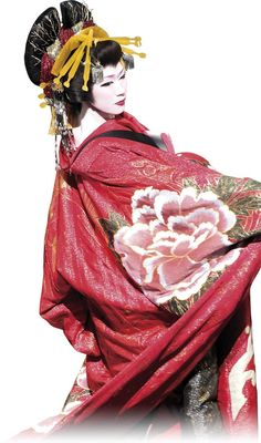 Japanese Geisha Woman in Asian red