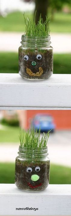 Funny Hair Jar. Use craft items to make a funny face at the front of the jar. Fill it with dirt and grass seed. It's so funny to watch the hair grow under the sunlight.