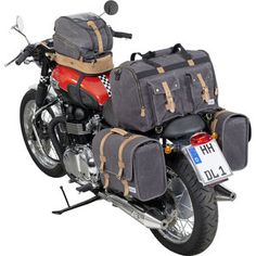 Vintage travel bag Canvas anthracite at Louis. Motorcycle Equipment, Motorcycle Luggage, Scrambler Motorcycle, Motorcycle Style, Motorcycle Outfit, Motorcycles, Motorcycle Design, Three Wheel Bicycle, Side Car