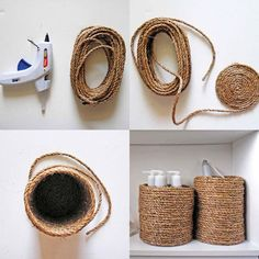 3 DIY's: Jute Twine and Sisal Rope Edition — Firefly Events Baby Formula Containers, Baby Formula Cans, Diy Arts And Crafts, Home Crafts, Diy Crafts, Diy Home Decor On A Budget, Jute Twine, Boho Diy, Crafty Craft