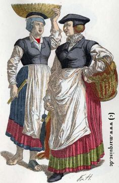 Heidelberg, Germany: farmer's wife and maid, second half of 16th century.  Women -- Clothing & dress -- Germany -- 1550-1599.