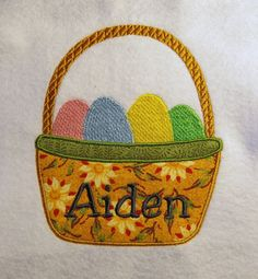 Easter Basket Applique/Embroidery Design by LMTEmbroideryDesigns Applique Embroidery Designs, Machine Embroidery, Hardware Software, Easter Baskets, Sewing, Creative, Fabric, Etsy, Color