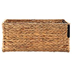 Wicker and Wood Rectangular Basket, Small in color .