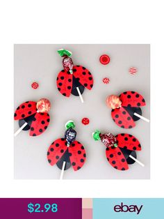 Brand Name: wedliesEvent & Party Item Type: Candy BoxOccasion: PartyModel Number: PaperboardType: Event & Party Supplies for kids Lollipop Insect Card Decoration Candy Bees Ladybug Butterfly Gift Cute Birthday Party For Kids Wedding Decor Spring Crafts For Kids, Gifts For Kids, Lollipop Decorations, Miraculous Ladybug Party, Decoration Birthday, Ladybug Crafts, Ladybug Decor, Butterfly Gifts, Butterfly Design