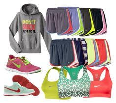 """Running Away"" by classically-preppy ❤ liked on Polyvore featuring NIKE, shoes, shorts, running, norts and nike"