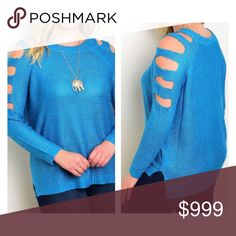 "(Plus) blue sweater Blue cold shoulder sweater. 100% acrylic. Extremely soft with great stretch! Great oversized look for fall and winter.  XL: L 28"" • B 50"" XXL: L 29"" • B 52"" XXXL: L 30"" • B 54"" Availability: XL•XXL•XXXL • 2•2•0 ⭐️This item is brand new from manufacturer with tags.  🚫NO TRADES 💲Price is firm unless bundled 💰Ask about bundle discounts Sweaters Crew & Scoop Necks"