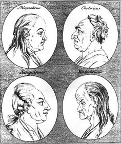 The four temperaments (Clockwise from top right: choleric; melancholic; sanguine; phlegmatic) by Hippocrates.