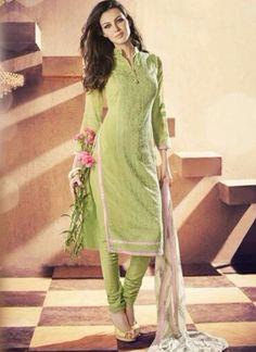 Perot Green Georgette Stone Work Lace Border Designer Casual Churidar Suit http://www.angelnx.com/Salwar-Kameez/Churidar-Suits