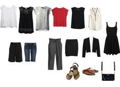 Hot Weather Capsule Wardrobe 6 tops + 3 bottoms + 1 dress + 1 outer garment
