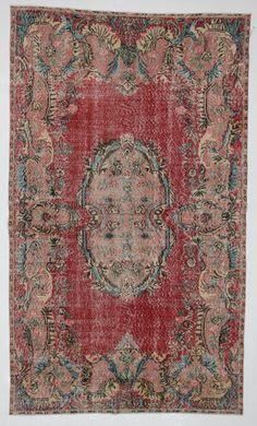 Red Coral Green Medallion Floral Vintage Turkish Rug on Etsy, $1,485.00
