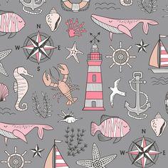 Nautical Doodle with whale,lighthouse,Anchor Mint Aqua Blue on Dark Grey fabric by caja_design on Spoonflower - custom fabric Double Gauze Fabric, Cotton Twill Fabric, Fleece Fabric, Cotton Canvas, Grey Fabric, Beach Fabric, Aqua Blue, Pink, Art Plastique