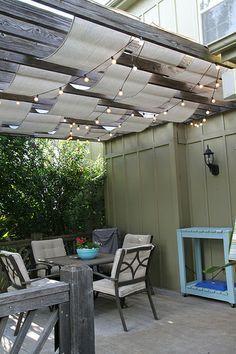 Techos  Cubierta sencilla para una pérgola, decoración diseño exteriores, decoración terrazas, loneta, protector sol terrazas, techos de tela terrazas con diferentes formas y colores.