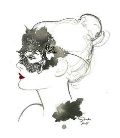 Mascarade, photographie d'illustration mode aquarelle et plume originale par Jessica Durrant