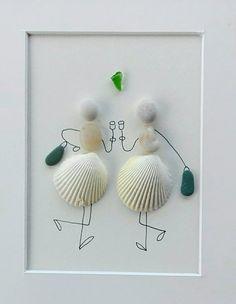 Pebble art friends Pebble art girls shells friendiship gift