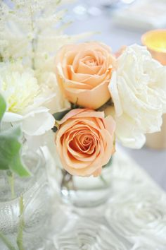 peach and white roses