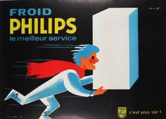 Philips Froid original advertising lithography antique poster from 1960 by Darigo.
