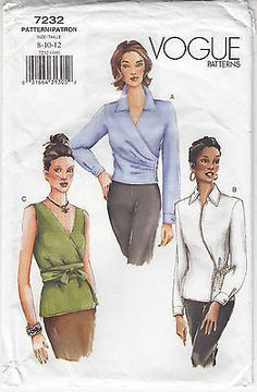 Blouse Top Fitted Side Button Variations Vogue Sew Pattern 7232 Sz 8-12 Uct Easy