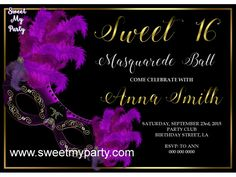 Sweet 16 Masquerade Party Invitation,Sweet sixteen invitations,Quinceanera Masquerade Party Invitation,(10)