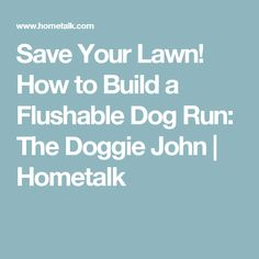 Save Your Lawn! How to Build a Flushable Dog Run: The Doggie John | Hometalk
