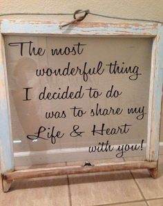 Make this with an old window and hang on gallery wall surrounded by our wedding pictures - love this idea for the house! #artsandcraftshomes,