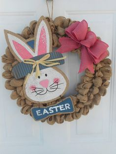 Easter burlap wreath Burlap Easter wreath Easter bunny wreath