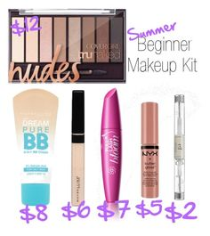 Summer Beginner Makeup Kit by kate-peters22 on Polyvore featuring polyvore, Belleza, Maybelline, NYX, e.l.f. and COVERGIRL