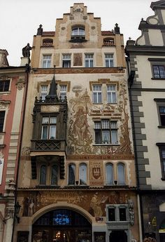 #Prague #OldTownSquare  --  Storch House in Prague's Old Town Square  --  Note the mural of Wenceslas, Duke of Bavaria on facade.