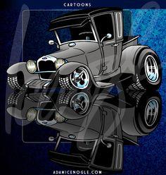 Orlando area illustrator & cartoonist - 1927 Ford pickup cartoon