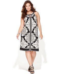 INC International Concepts Plus Size Dress, Sleeveless Printed Keyhole - Plus Size Dresses - Plus Sizes - Macy's