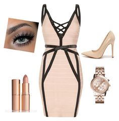 """""""Nude colours x❤️"""" by queenoffashionandbeauty ❤ liked on Polyvore featuring Shoe Republic LA, Charlotte Tilbury and Michael Kors"""