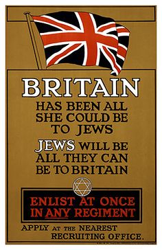 WWI Recruitment Poster 1915 Britain has been all she could to the Jews Poster Print by Unknown x