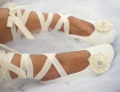 Ivory Ballet Slippers Bridal Flats with Cotton Eyelet by SolBijou