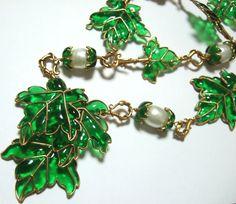 Vintage CHANEL Gripoix Vine Leaves Necklace