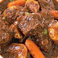 Crock Pot Beef Stew. I do a few variations to this. I put garlic in meat and sear the whole thing on each side before placing in crockpot, I do not use flour and I put the potatoes in half way through the cooking process